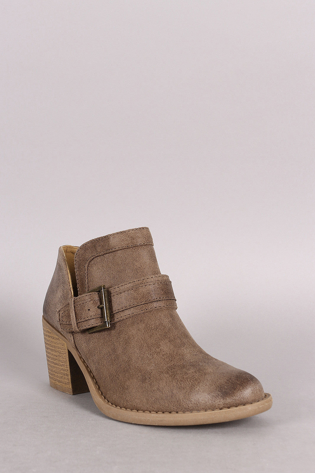 Qupid Buckled Cowgirl Chunky Heeled Booties - Thick 'N' Curvy Shop - 4