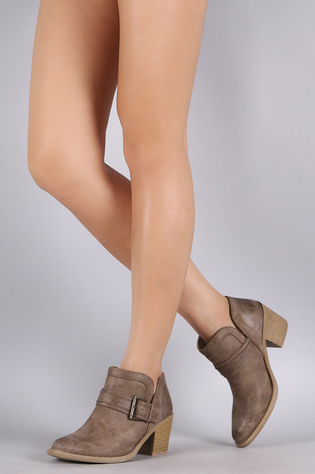 Qupid Buckled Cowgirl Chunky Heeled Booties - Thick 'N' Curvy Shop - 3