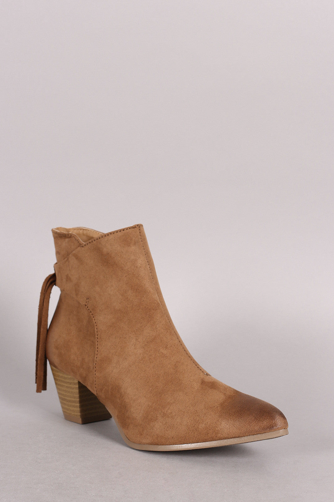Qupid Suede Fringe Pointy Toe Chunky Heeled Booties - Thick 'N' Curvy Shop - 2