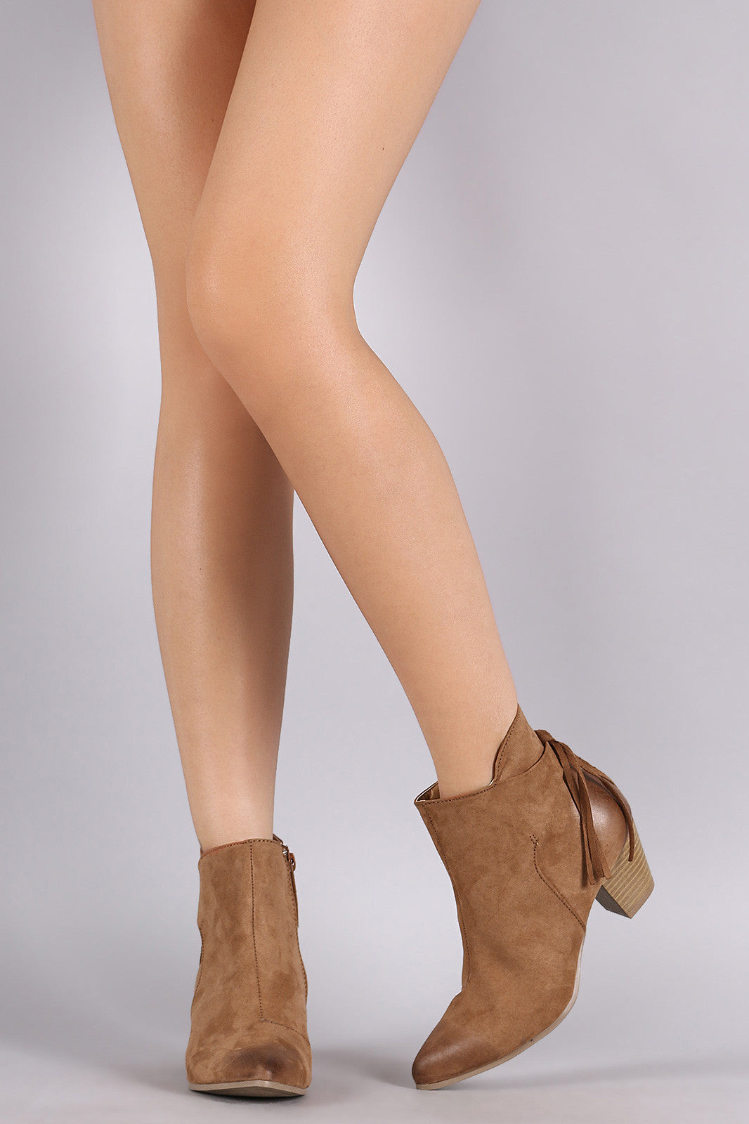 Qupid Suede Fringe Pointy Toe Chunky Heeled Booties - Thick 'N' Curvy Shop - 1