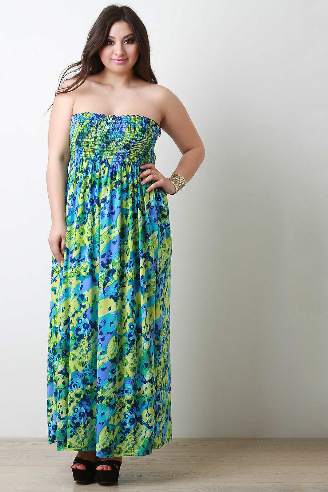 Abstract Empire Waist Strapless Maxi Dress - Thick 'N' Curvy Shop - 1