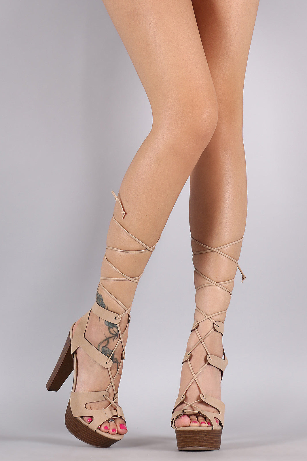 Breckelle Strappy Lace Up Platform Heel - Thick 'N' Curvy Shop - 1
