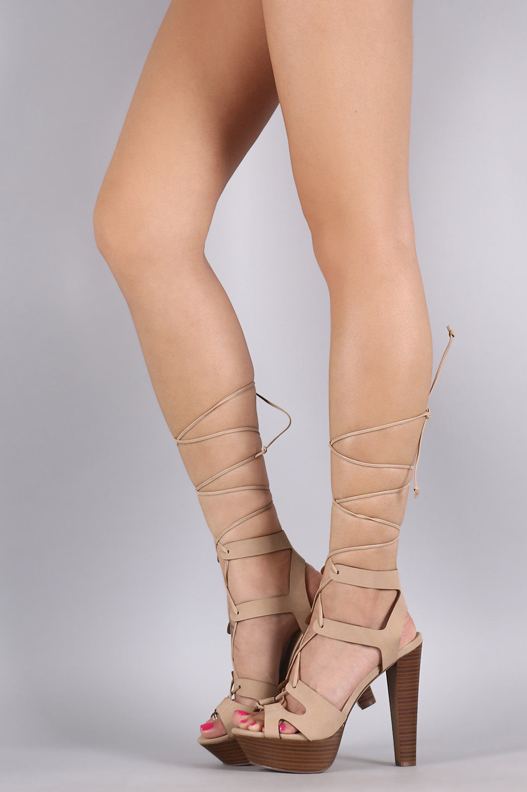 Breckelle Strappy Lace Up Platform Heel - Thick 'N' Curvy Shop - 2