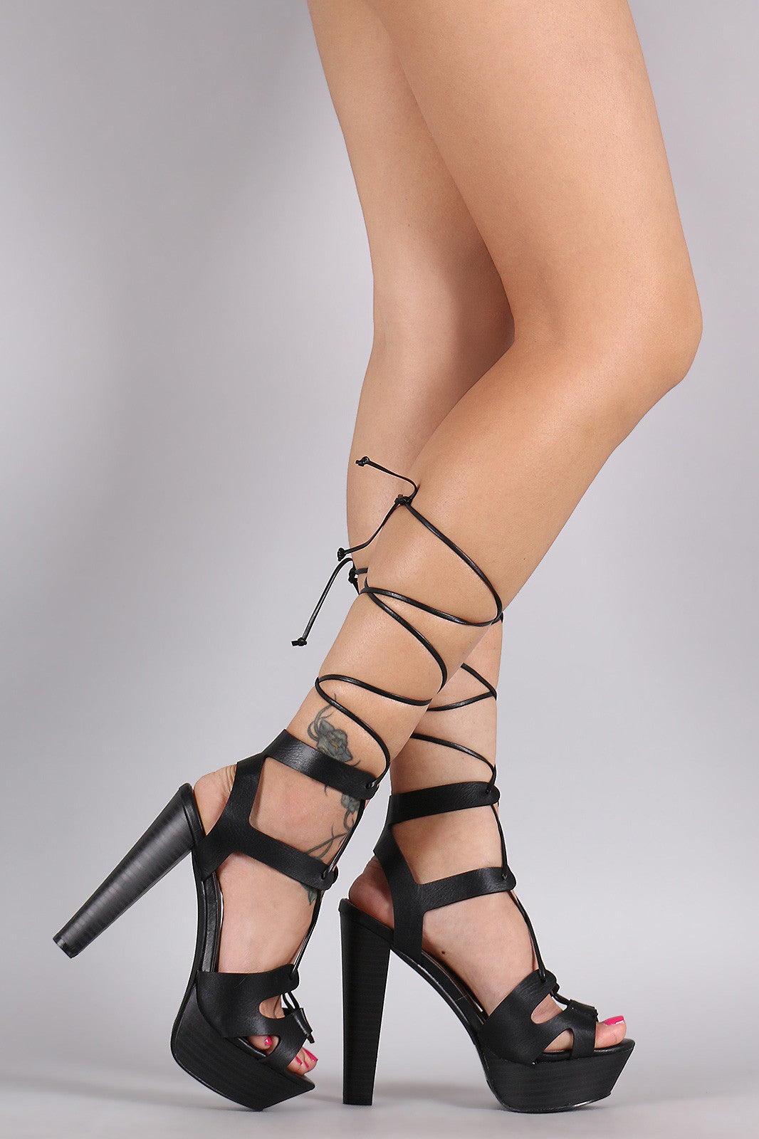 Breckelle Strappy Lace Up Platform Heel - Thick 'N' Curvy Shop - 8