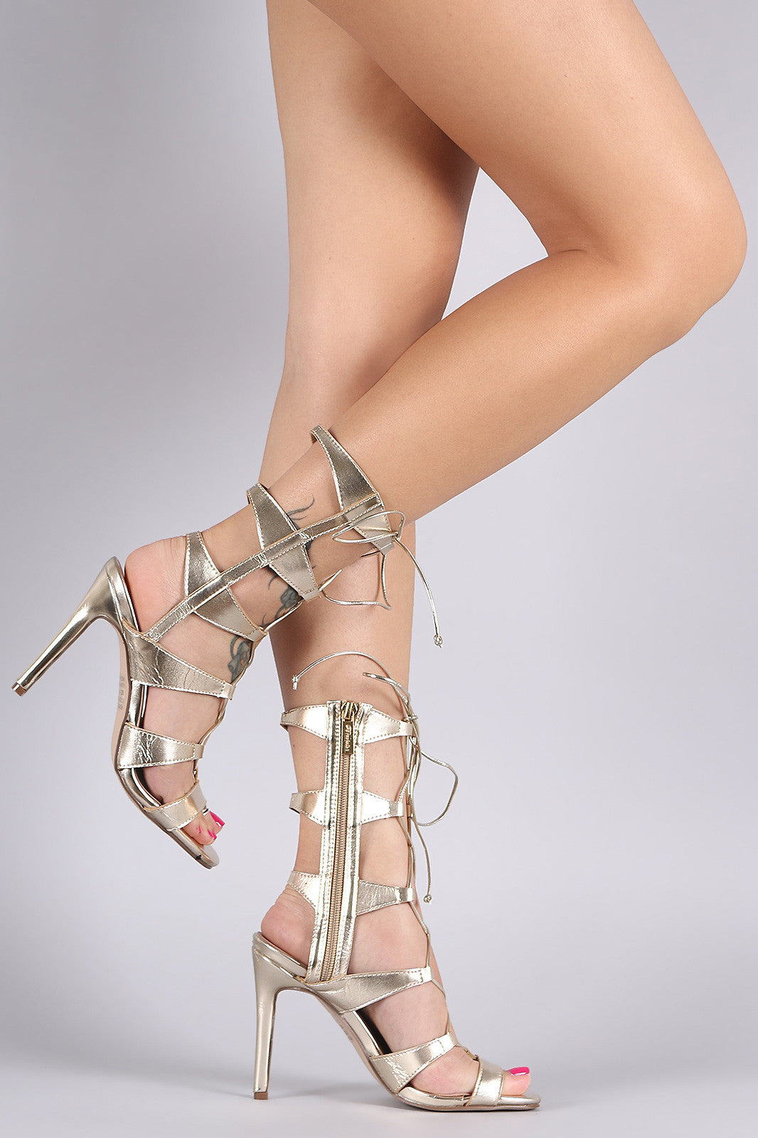 Breckelle Strappy Corset Lace Up Stiletto Heel - Thick 'N' Curvy Shop - 8