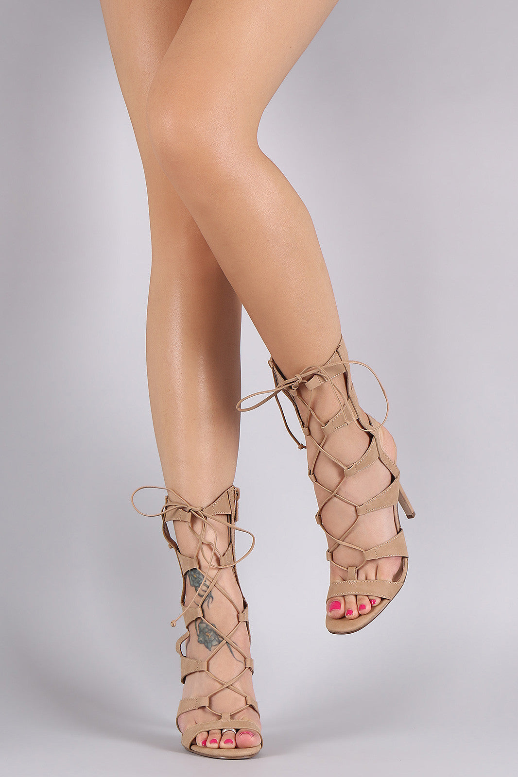 Breckelle Strappy Corset Lace Up Stiletto Heel - Thick 'N' Curvy Shop - 1