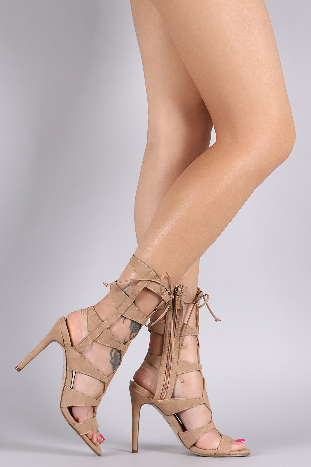 Breckelle Strappy Corset Lace Up Stiletto Heel - Thick 'N' Curvy Shop - 7