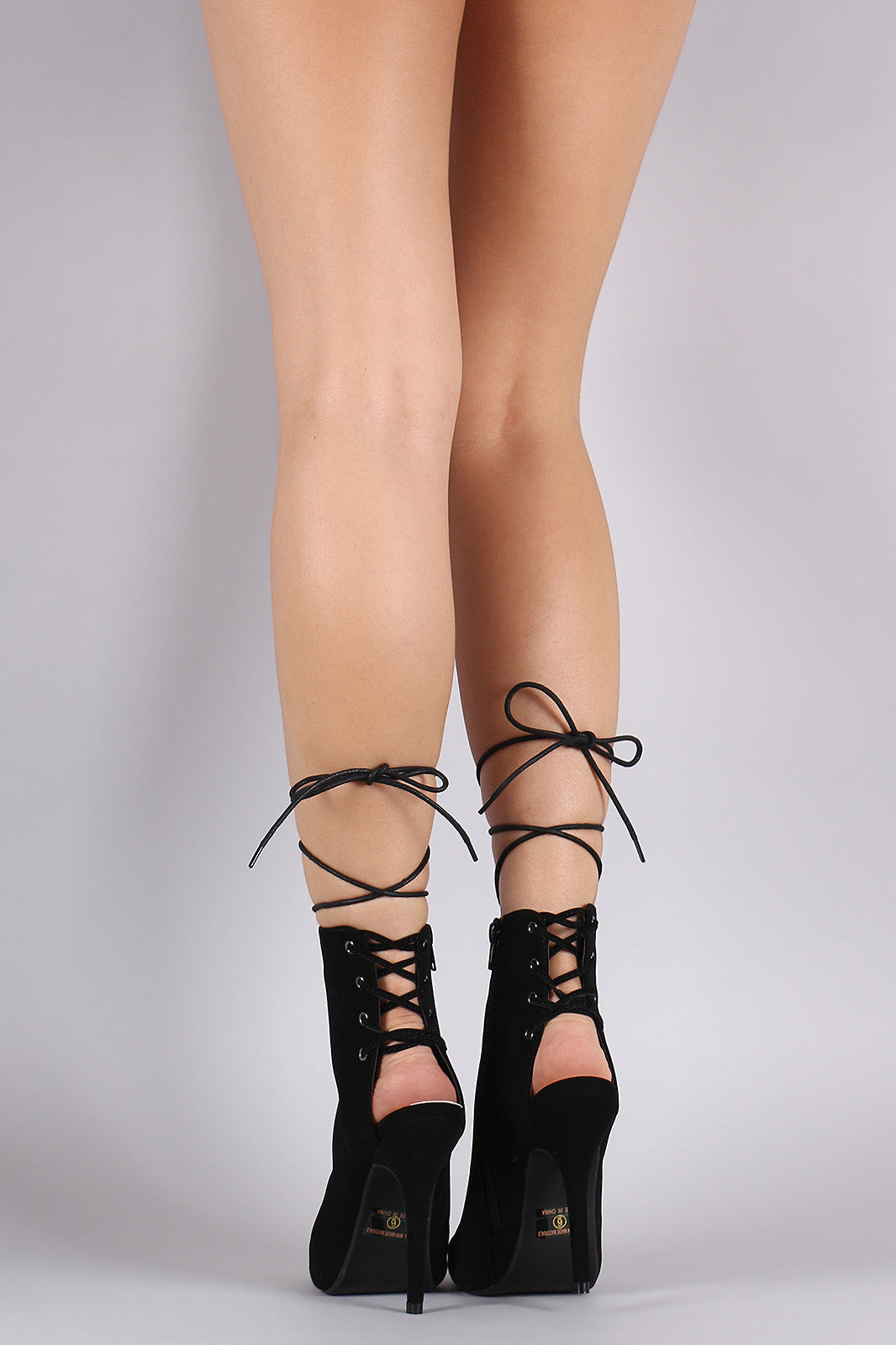 Nubuck Corset Lace Up Peep Toe Stiletto Booties - Thick 'N' Curvy Shop - 3