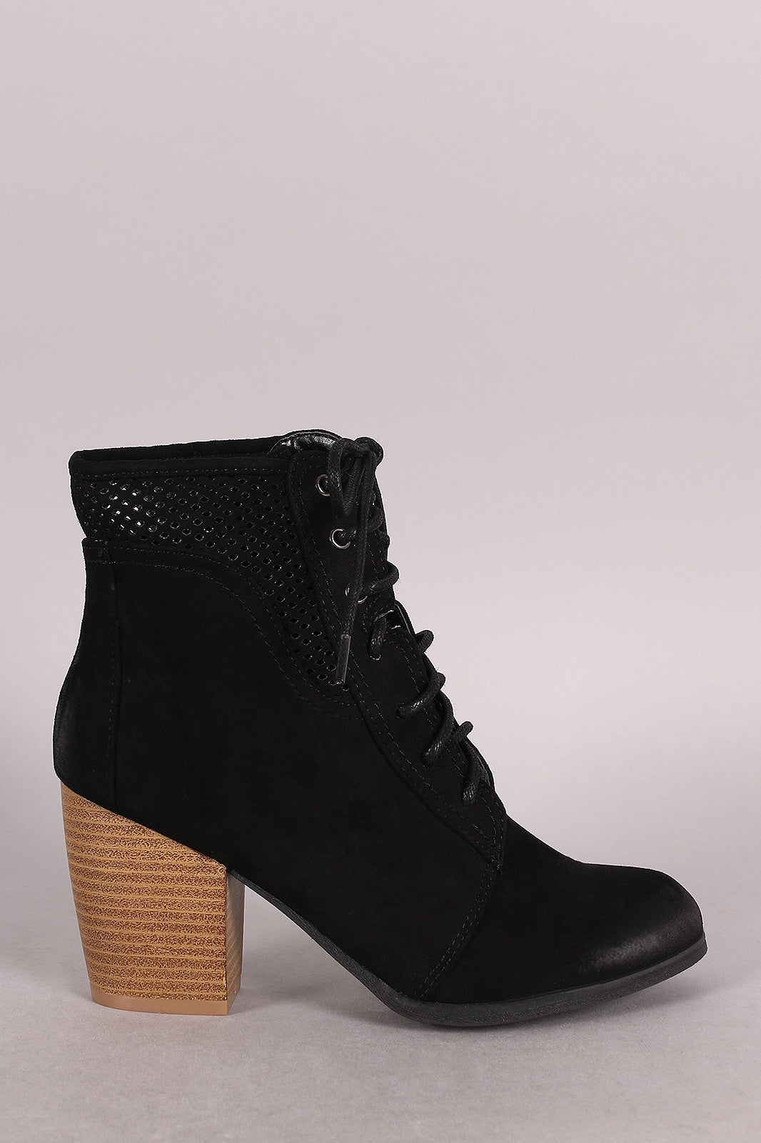 Qupid Spring Perforated Combat Booties - Thick 'N' Curvy Shop - 2