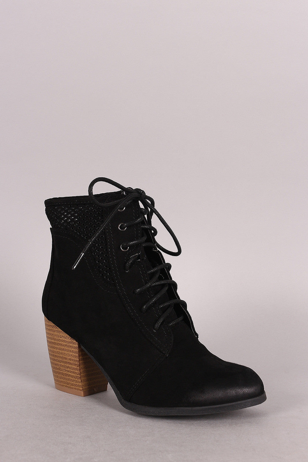 Qupid Spring Perforated Combat Booties - Thick 'N' Curvy Shop - 1