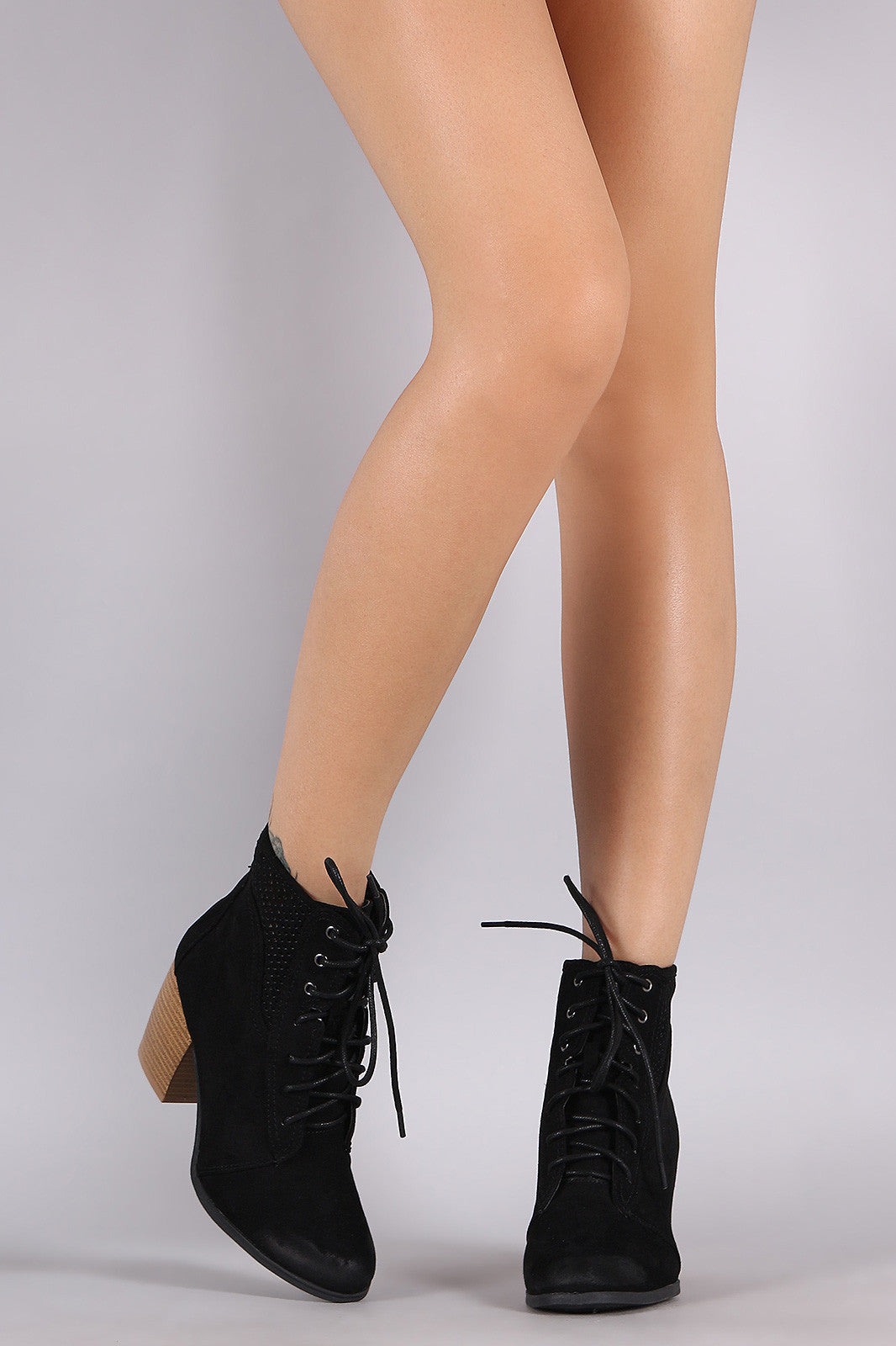 Qupid Spring Perforated Combat Booties - Thick 'N' Curvy Shop - 3