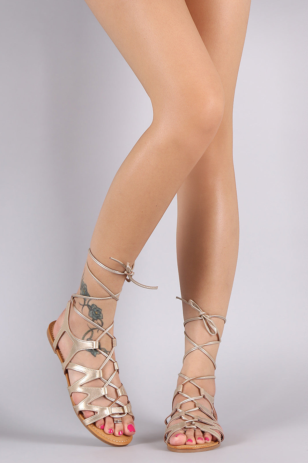Bamboo Leg Wrap Lace Up Gladiator Sandal - Thick 'N' Curvy Shop - 1