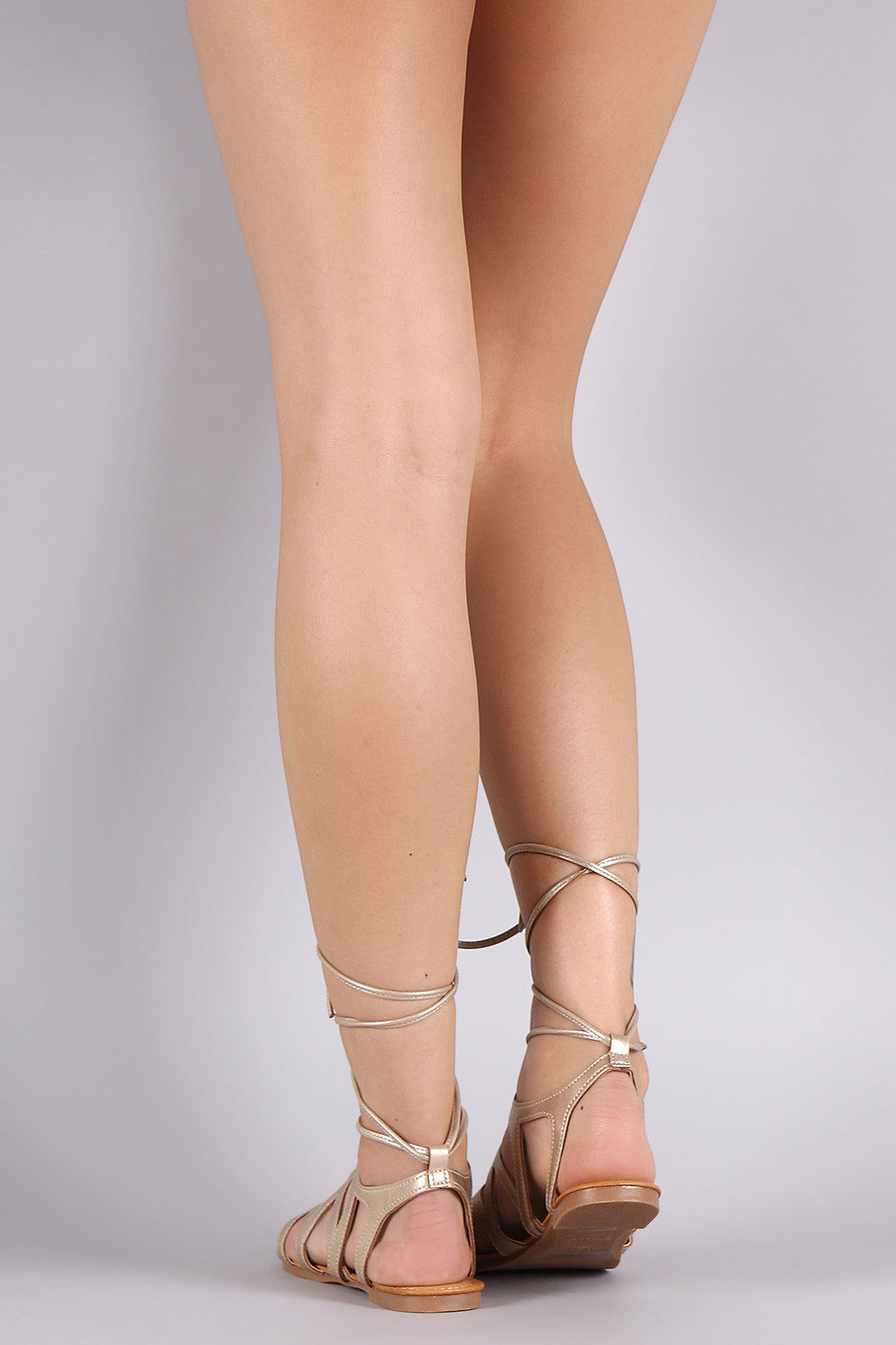 Bamboo Leg Wrap Lace Up Gladiator Sandal - Thick 'N' Curvy Shop - 3