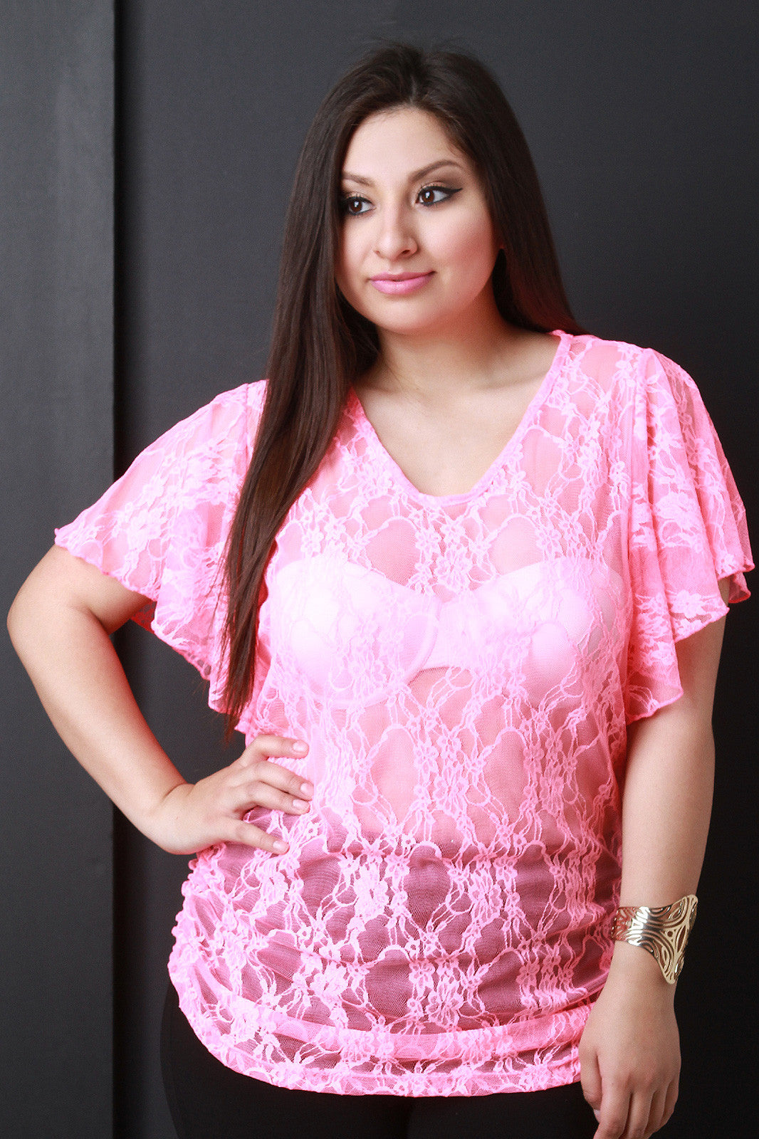 V-neck Floral Lace Pattern Top - Thick 'N' Curvy Shop - 4