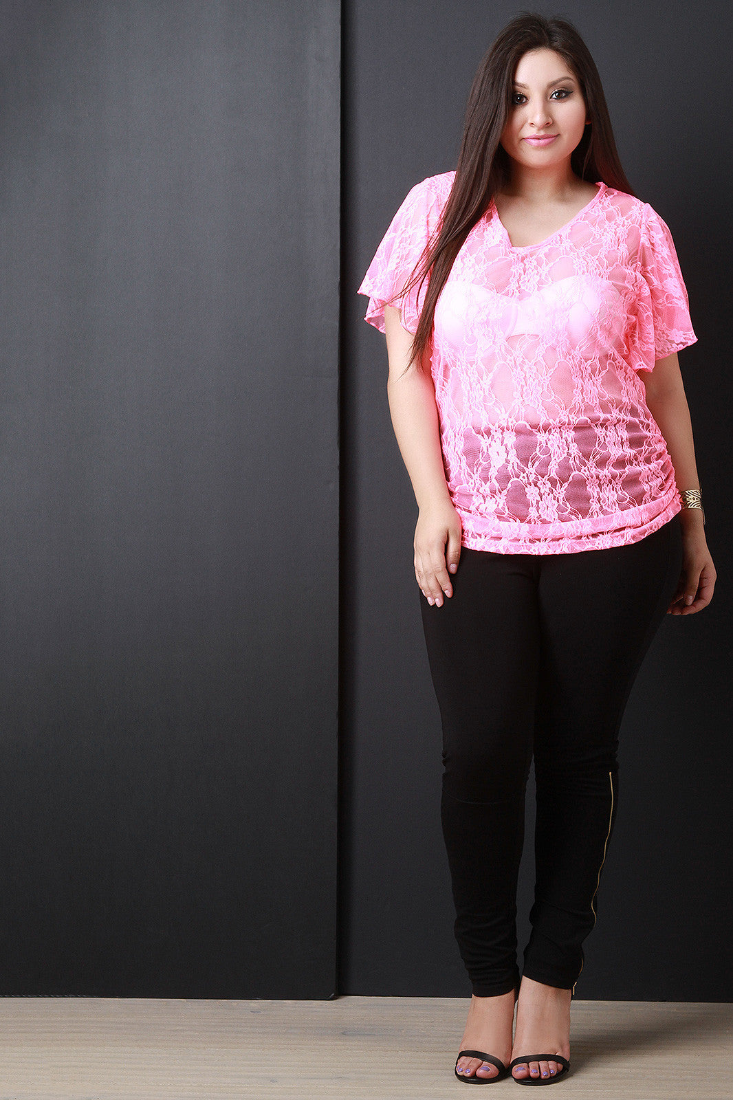 V-neck Floral Lace Pattern Top - Thick 'N' Curvy Shop - 6