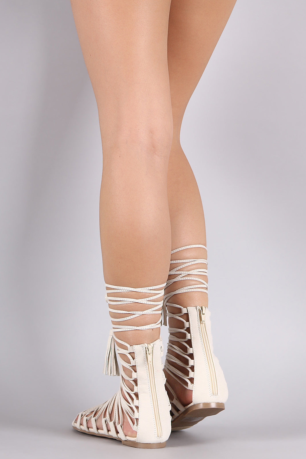Strappy Tassel Lace Up Flat Sandal - Thick 'N' Curvy Shop - 3