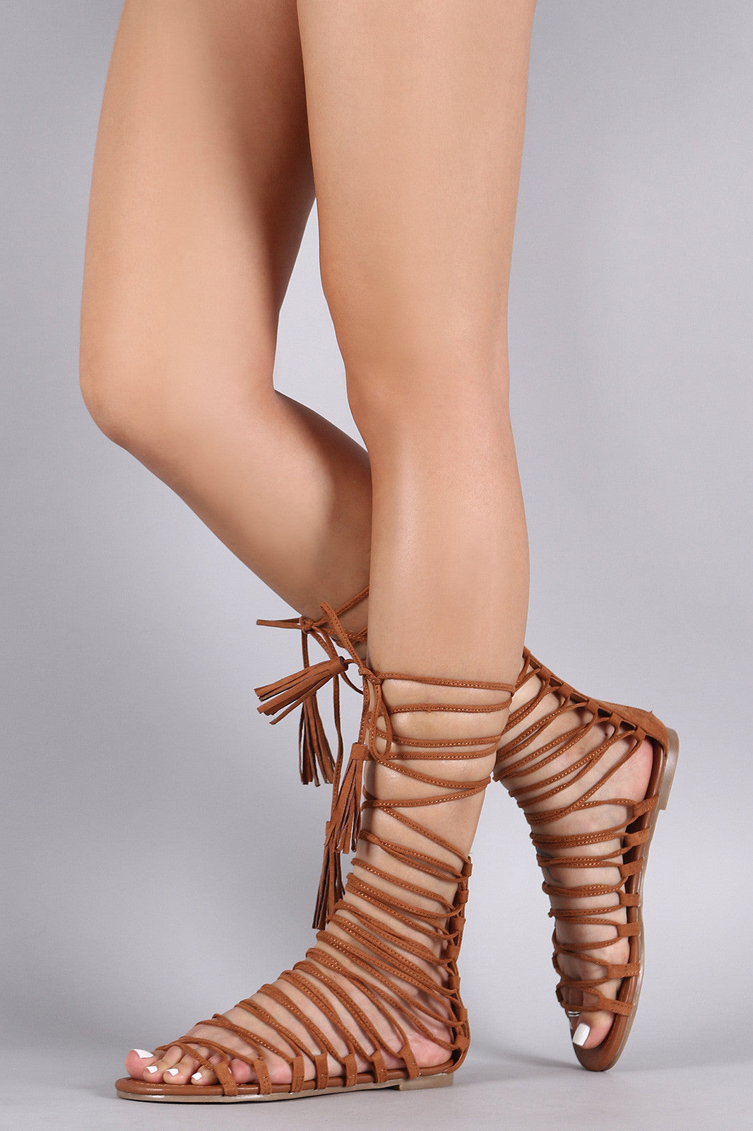 Strappy Tassel Lace Up Flat Sandal - Thick 'N' Curvy Shop - 9
