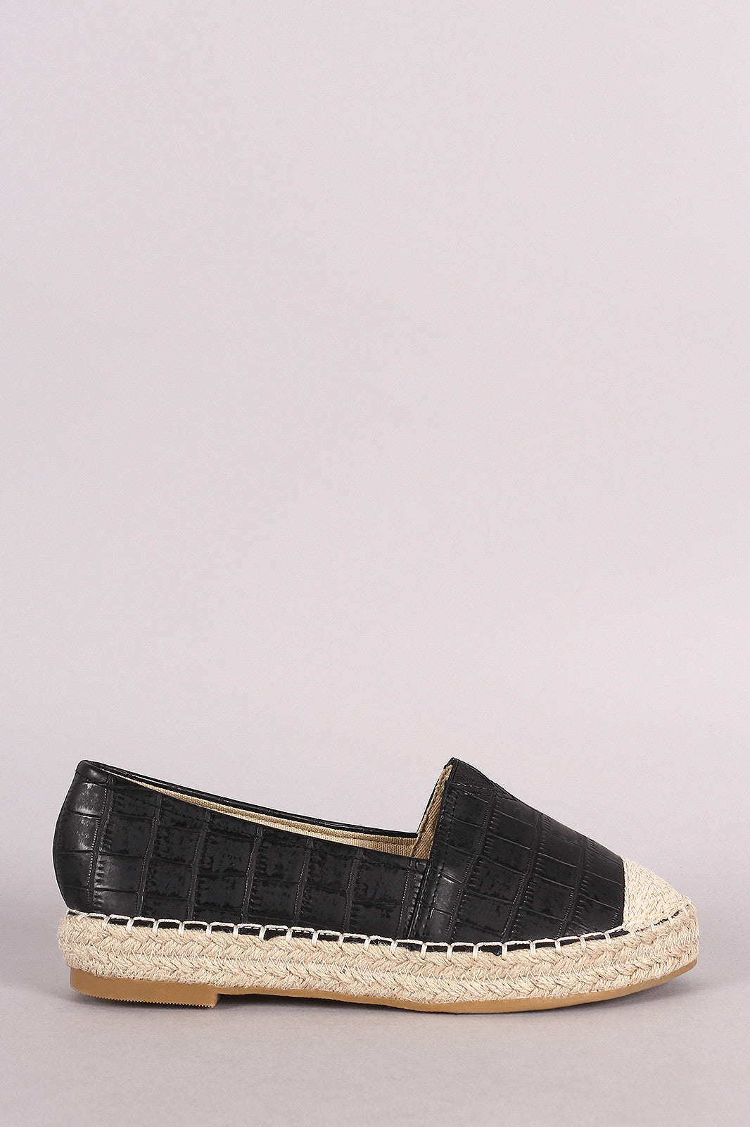 Crocodile Print Braided Espadrille Slip On Loafer Flat - Thick 'N' Curvy Shop - 1