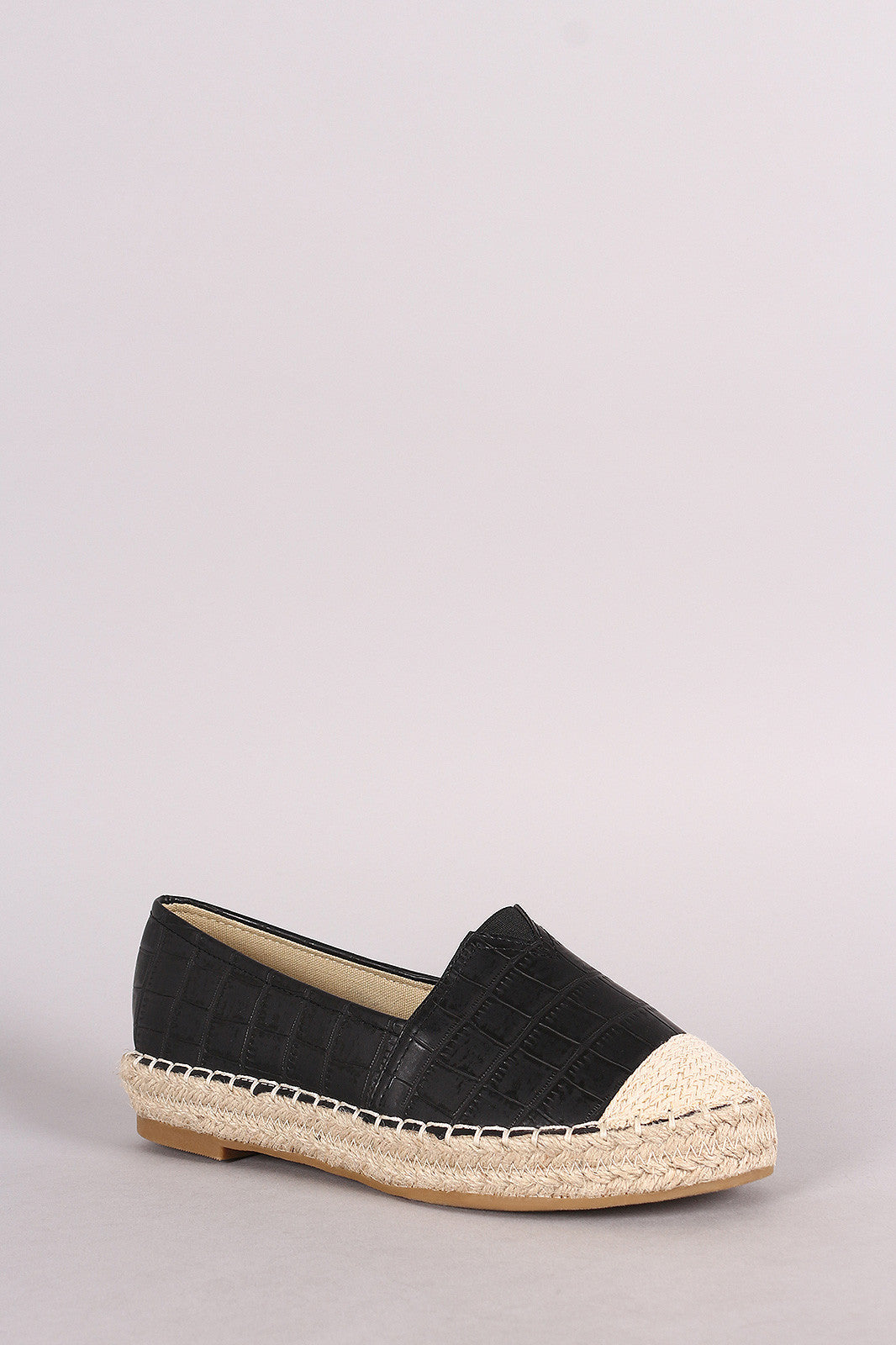 Crocodile Print Braided Espadrille Slip On Loafer Flat - Thick 'N' Curvy Shop - 2