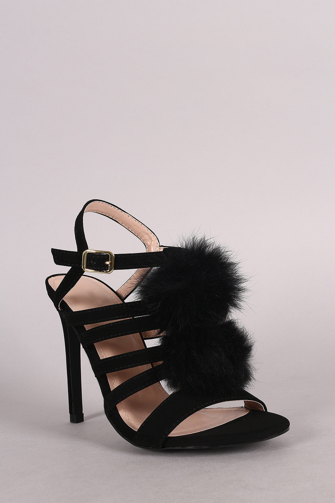 Shoe Republic LA Nubuck Strappy Pom Pom Stiletto Heel - Thick 'N' Curvy Shop - 8