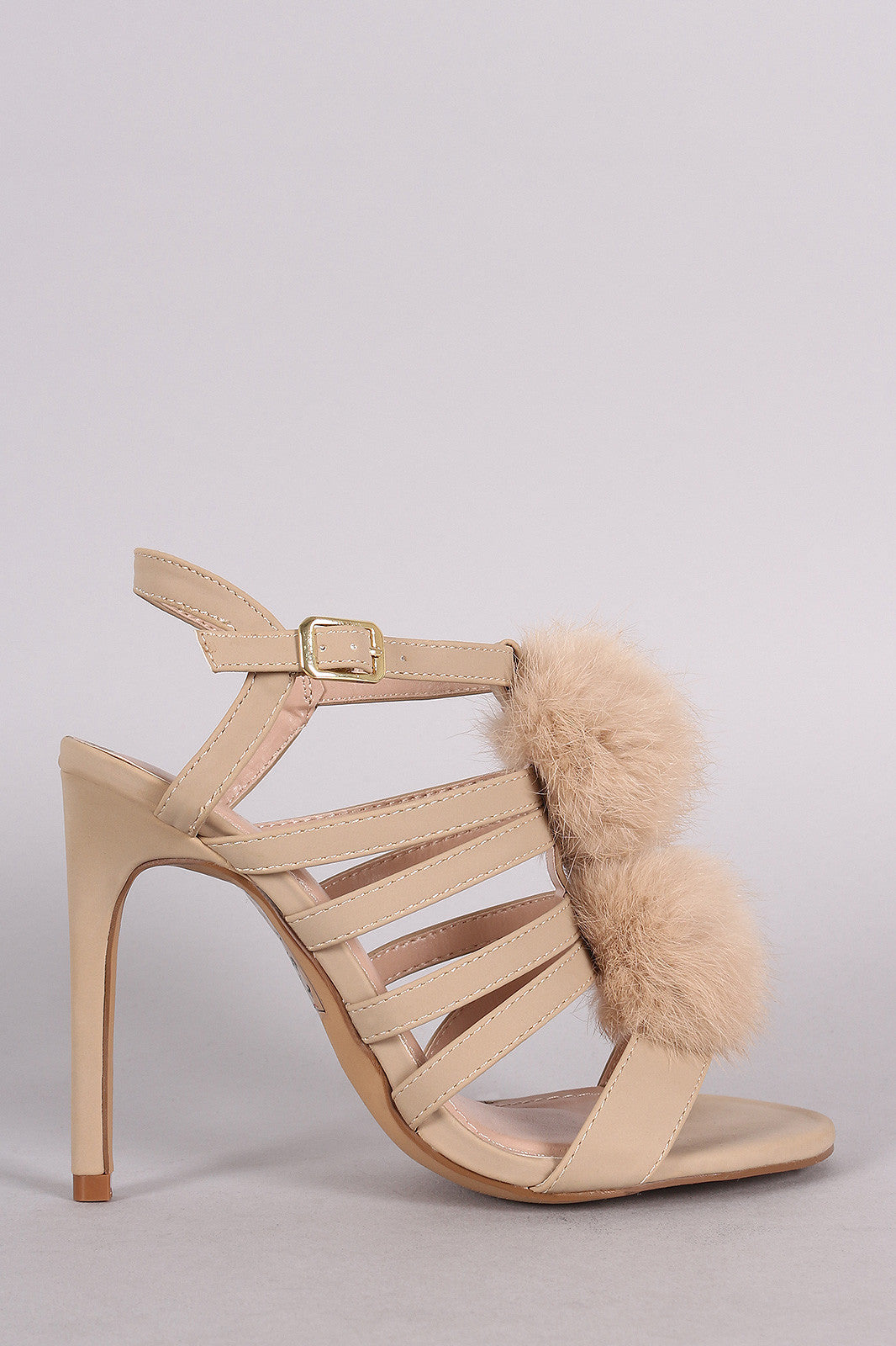 Shoe Republic LA Nubuck Strappy Pom Pom Stiletto Heel - Thick 'N' Curvy Shop - 4