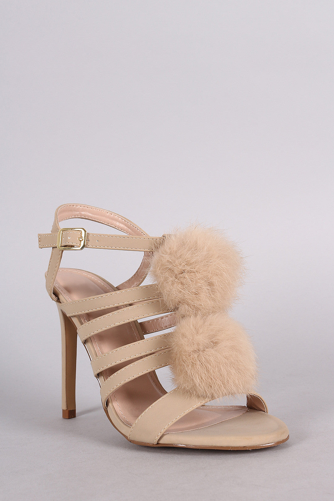 Shoe Republic LA Nubuck Strappy Pom Pom Stiletto Heel - Thick 'N' Curvy Shop - 5
