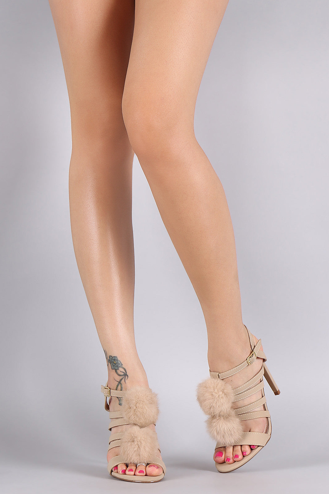 Shoe Republic LA Nubuck Strappy Pom Pom Stiletto Heel - Thick 'N' Curvy Shop - 6