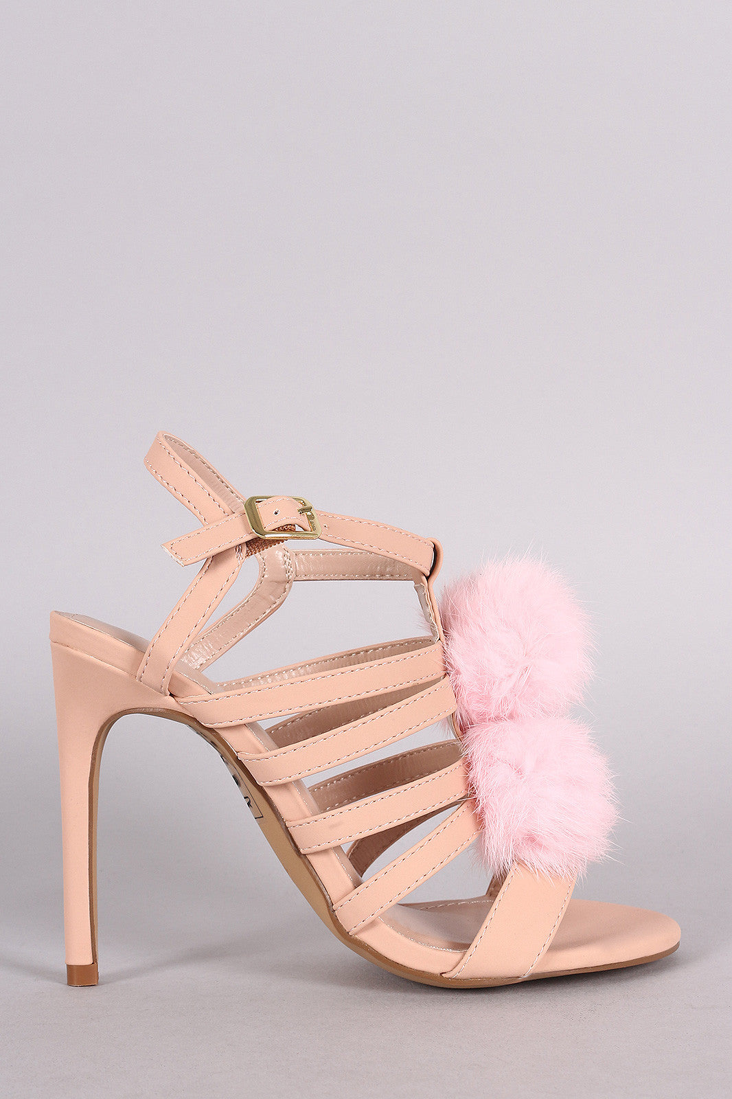 Shoe Republic LA Nubuck Strappy Pom Pom Stiletto Heel - Thick 'N' Curvy Shop - 1