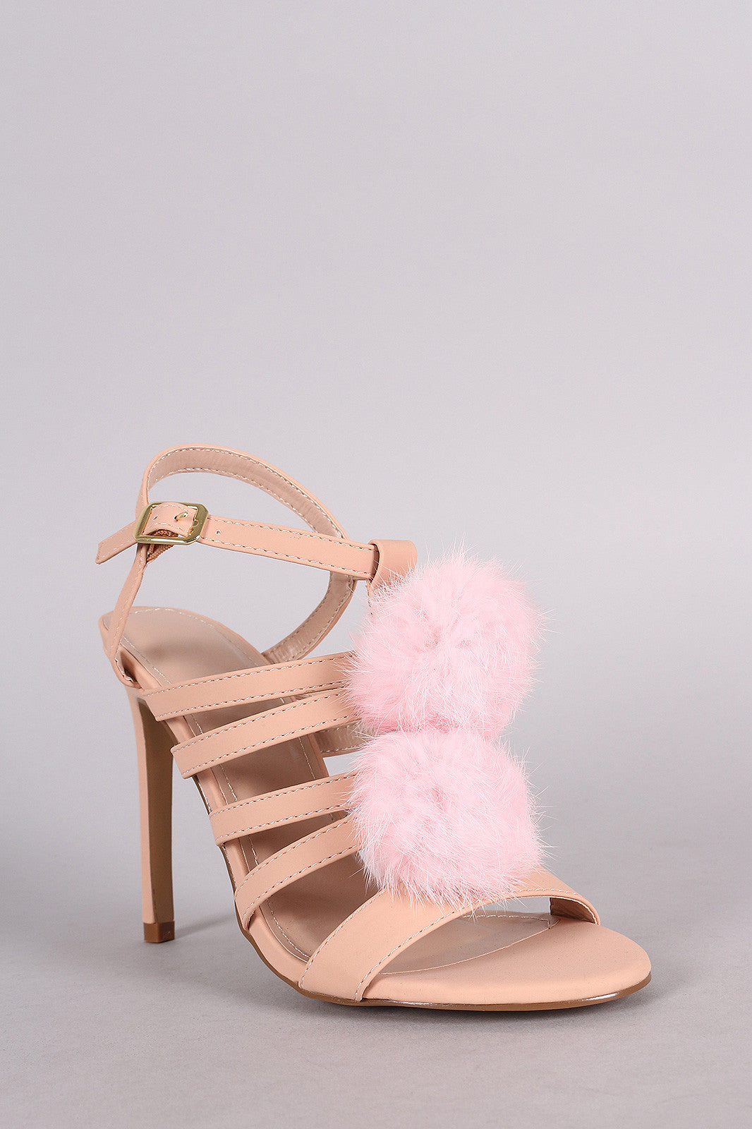 Shoe Republic LA Nubuck Strappy Pom Pom Stiletto Heel - Thick 'N' Curvy Shop - 2