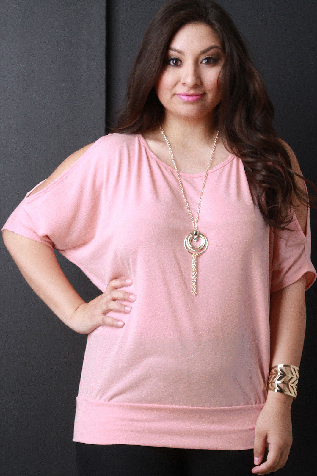 Cold Shoulder Bat Wing Sleeve Top - Thick 'N' Curvy Shop - 9