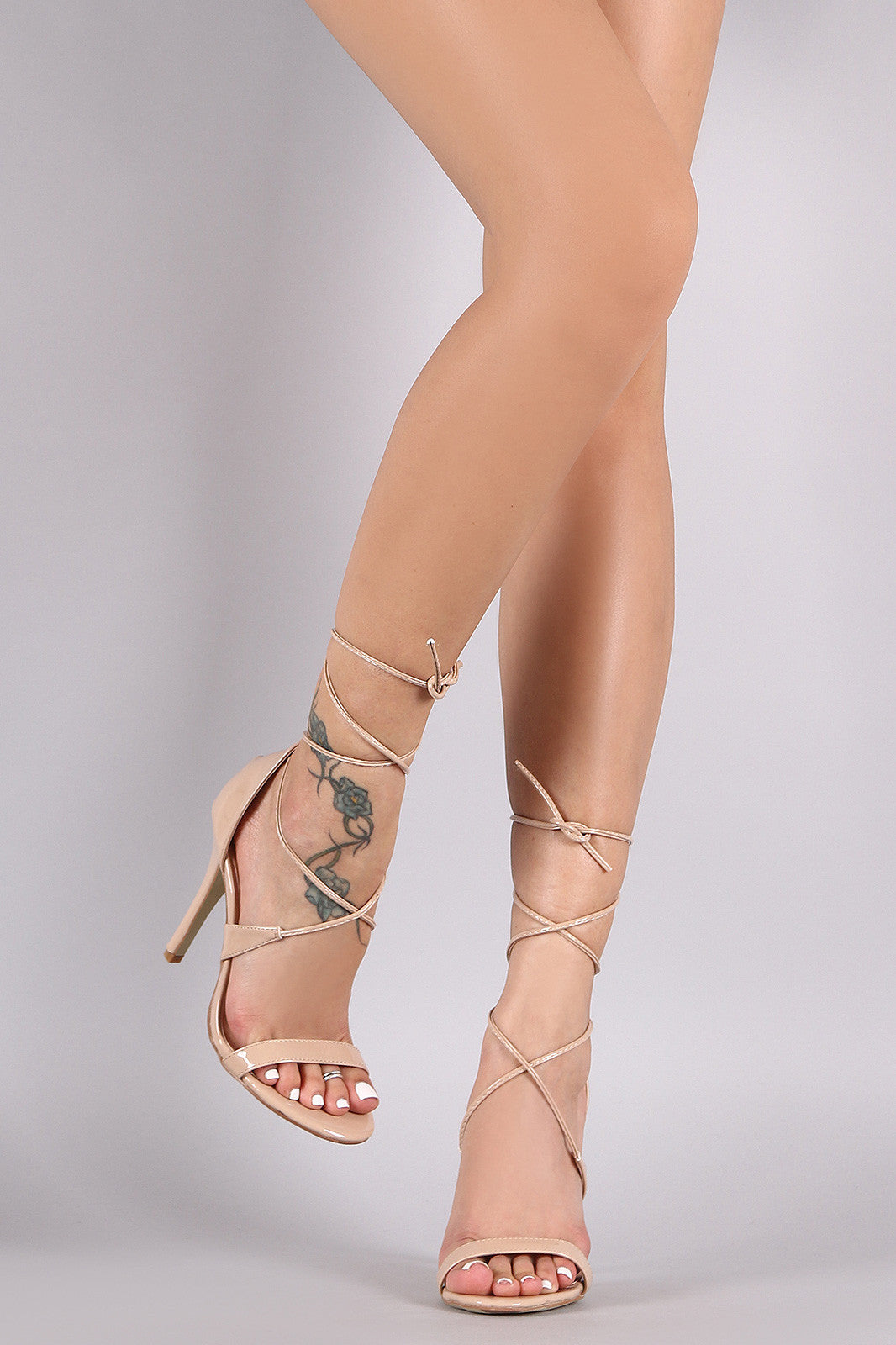 Patent Open Toe Lace-Up Stiletto Heel - Thick 'N' Curvy Shop - 4