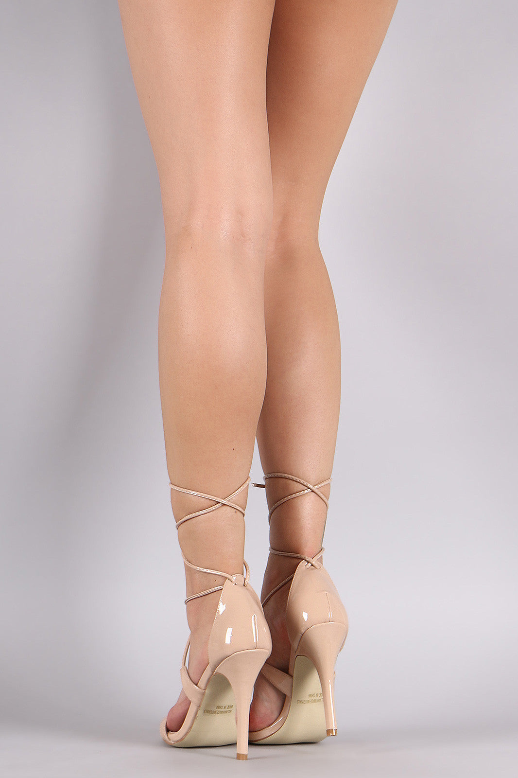 Patent Open Toe Lace-Up Stiletto Heel - Thick 'N' Curvy Shop - 5