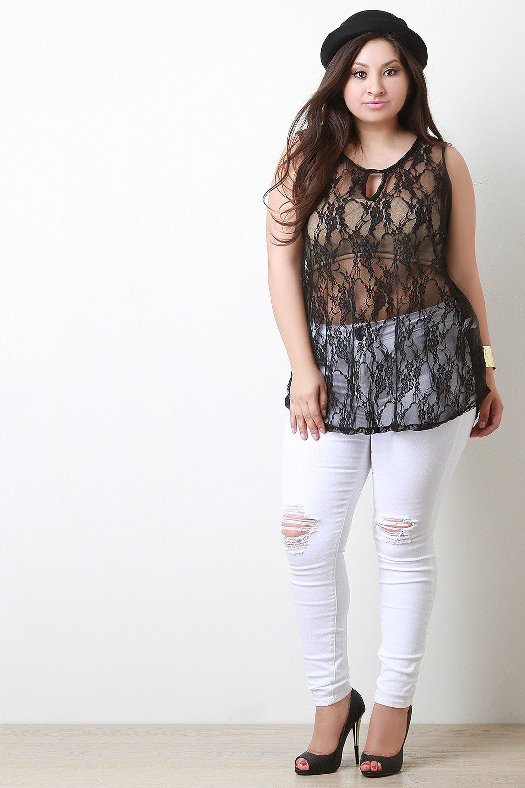 Semi-Sheer Floral Lace Keyhole Sleeveless Top - Thick 'N' Curvy Shop - 9