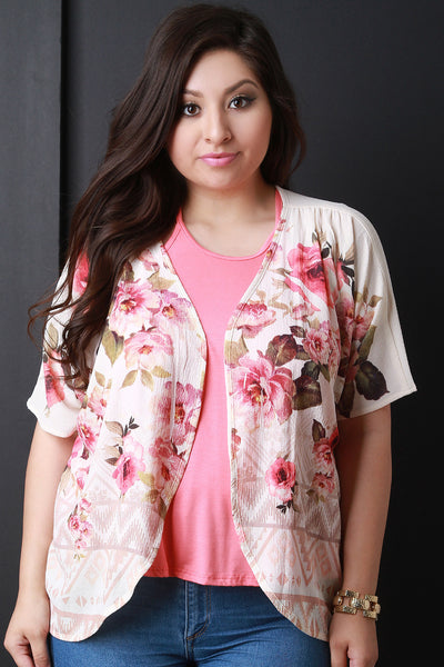 Floral Tribal Short Sleeve Kimono - Thick 'N' Curvy Shop - 1