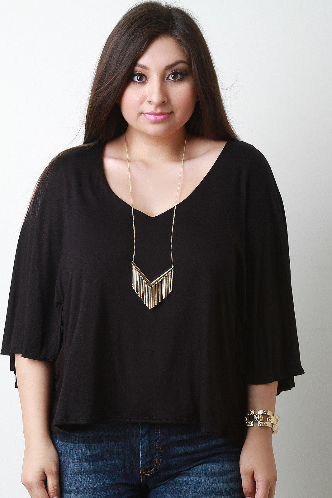 Jersey Knit V-Neck Dolman Sleeve Top - Thick 'N' Curvy Shop - 4