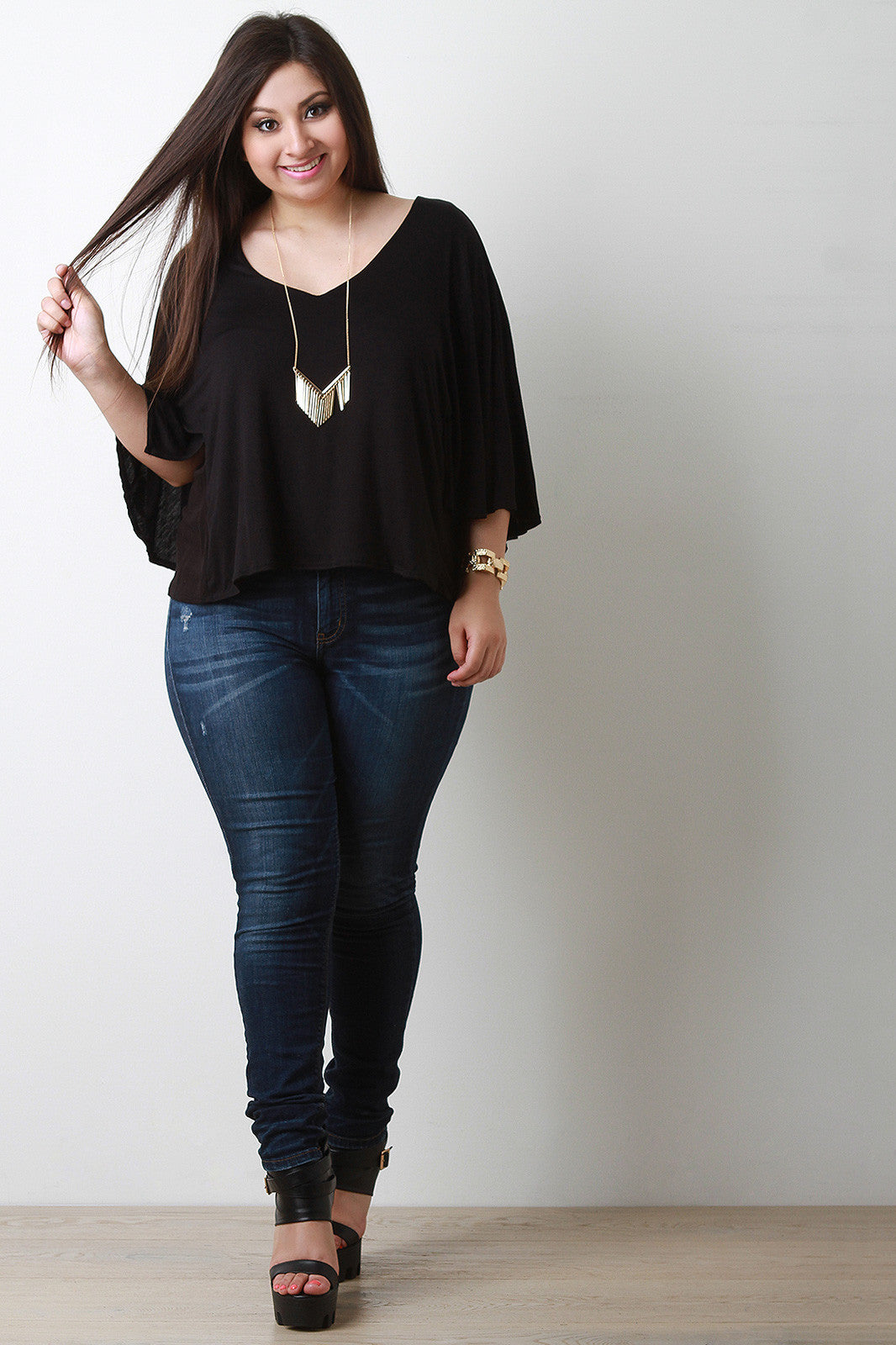 Jersey Knit V-Neck Dolman Sleeve Top - Thick 'N' Curvy Shop - 6