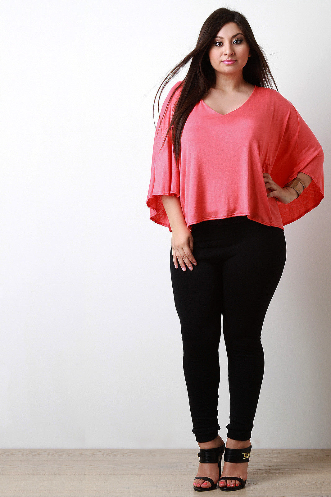 Jersey Knit V-Neck Dolman Sleeve Top - Thick 'N' Curvy Shop - 3