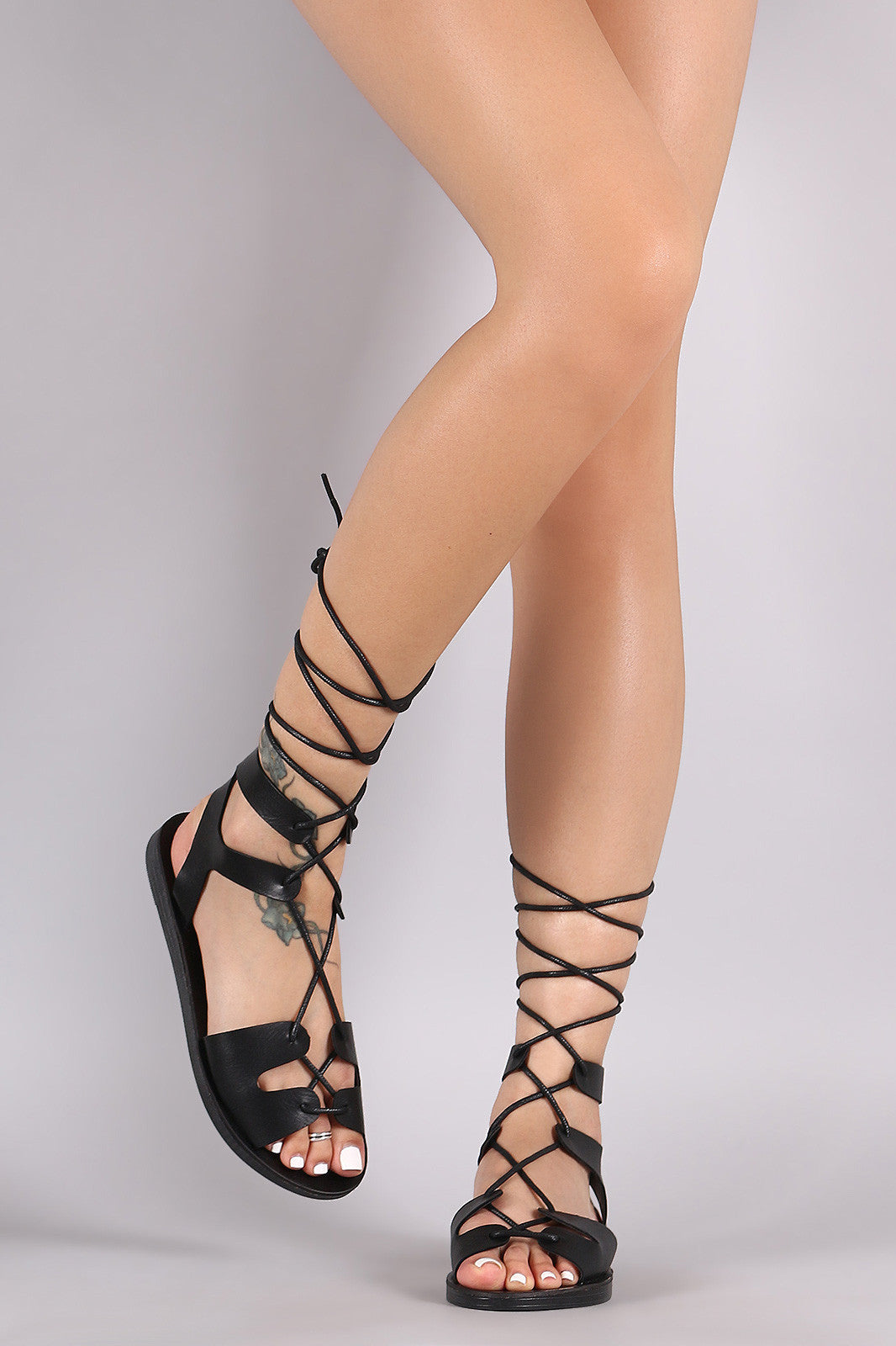 Breckelle Strappy Lace-Up Gladiator Flat Sandal - Thick 'N' Curvy Shop - 10
