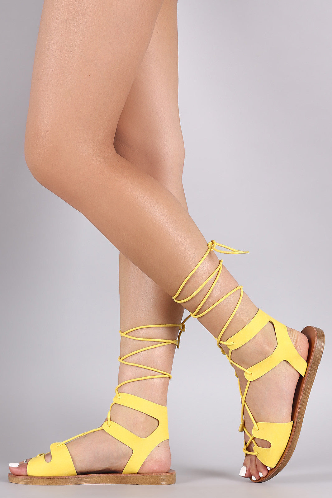 Breckelle Strappy Lace-Up Gladiator Flat Sandal - Thick 'N' Curvy Shop - 5