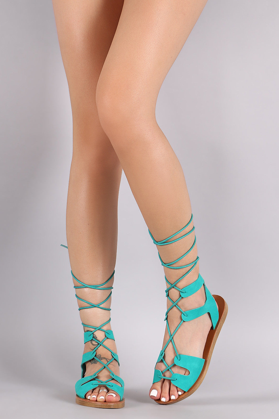 Breckelle Strappy Lace-Up Gladiator Flat Sandal - Thick 'N' Curvy Shop - 2