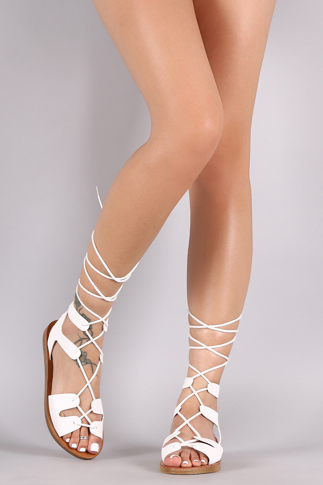 Breckelle Strappy Lace-Up Gladiator Flat Sandal - Thick 'N' Curvy Shop - 7
