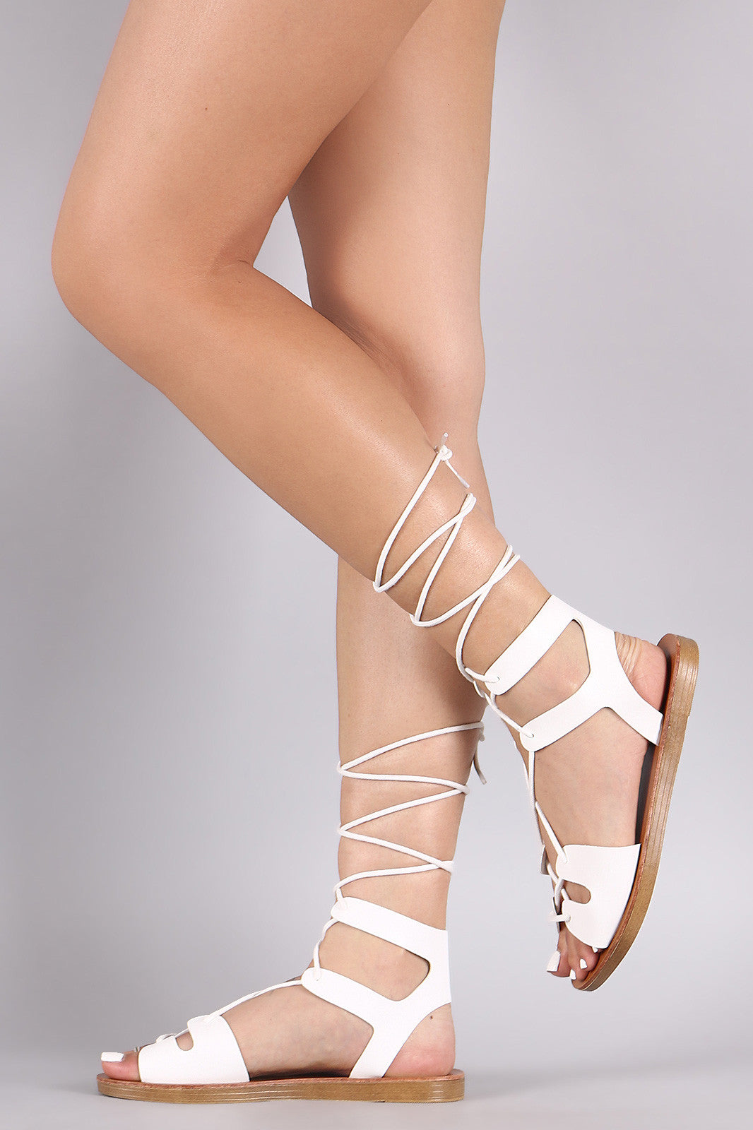 Breckelle Strappy Lace-Up Gladiator Flat Sandal - Thick 'N' Curvy Shop - 8