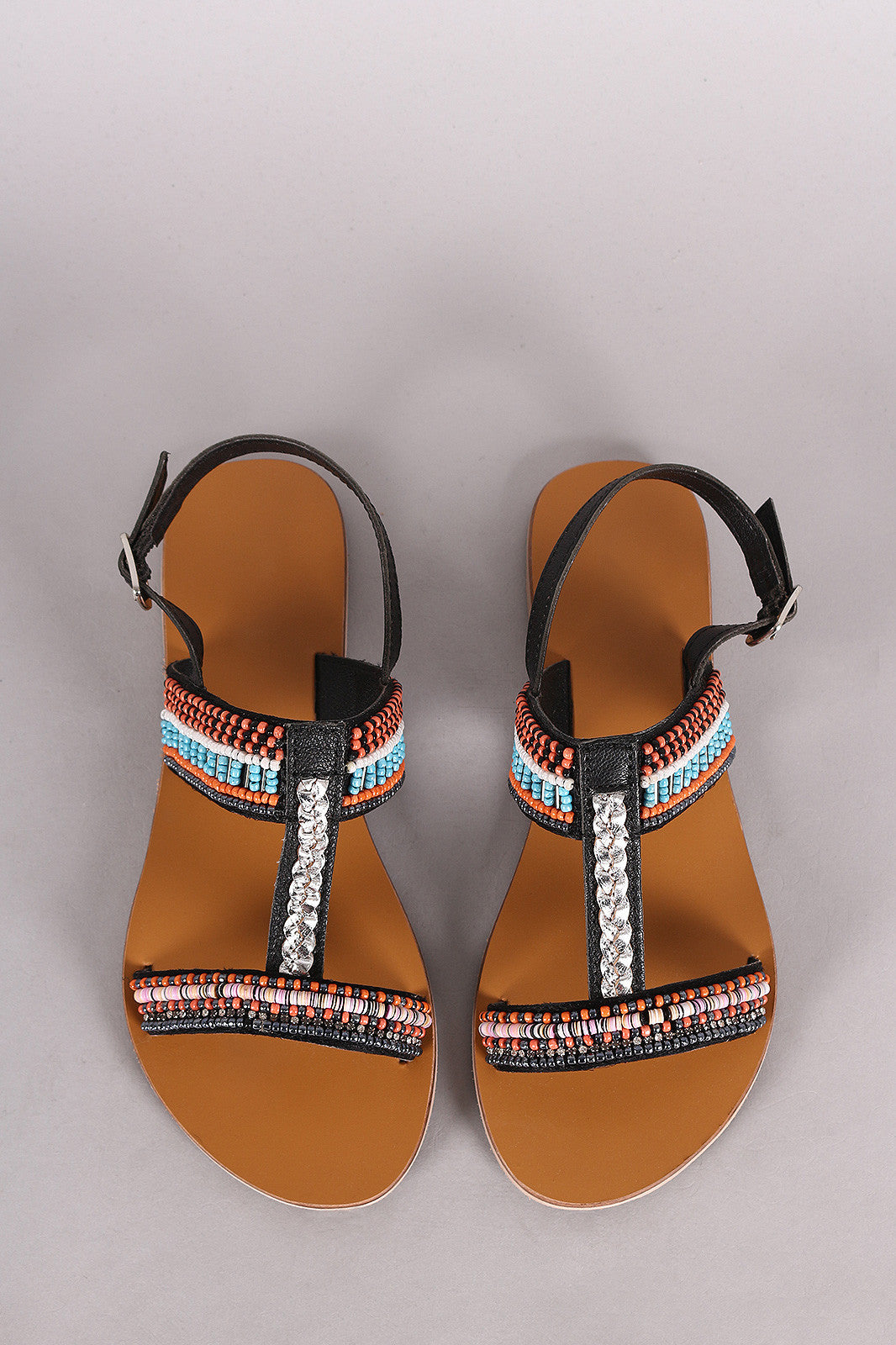 Qupid T-Strap Open Toe Beaded Flat Sandal - Thick 'N' Curvy Shop - 1