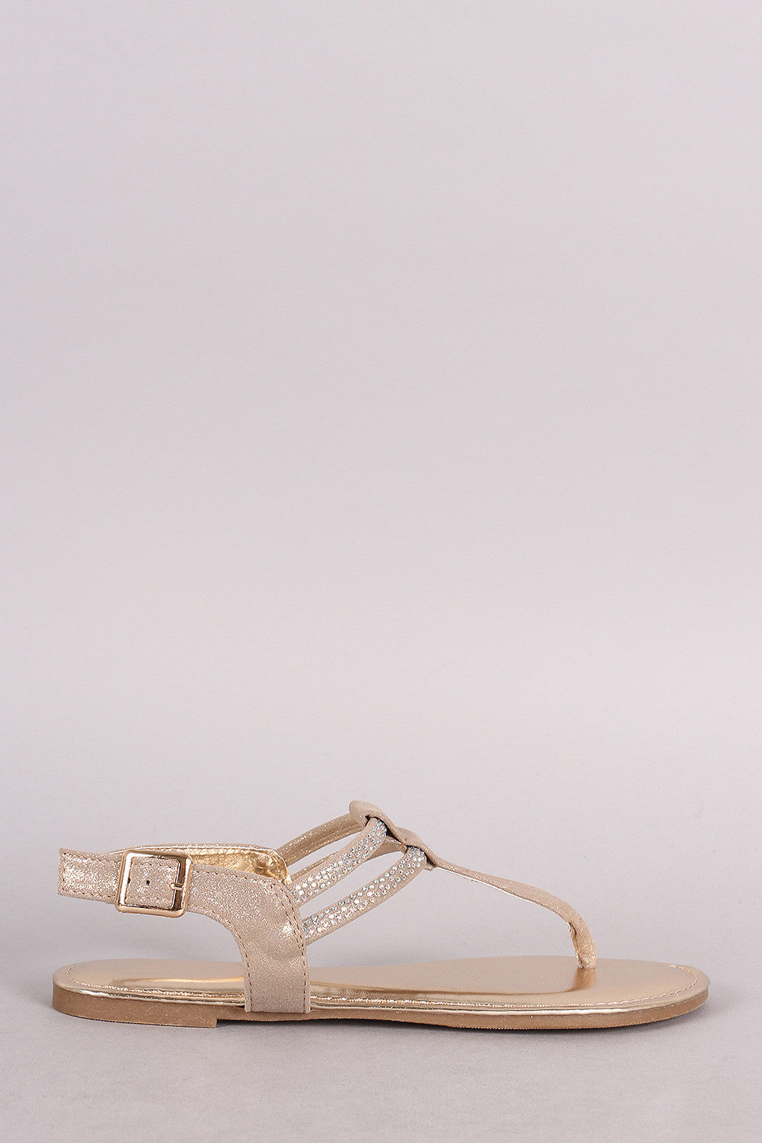 Bamboo Iridescent Glitter Rhinestone T-Strap Thong Flat - Thick 'N' Curvy Shop - 2