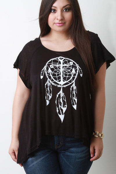 Anchor Dreamcatcher Graphic Print Tee - Thick 'N' Curvy Shop - 1