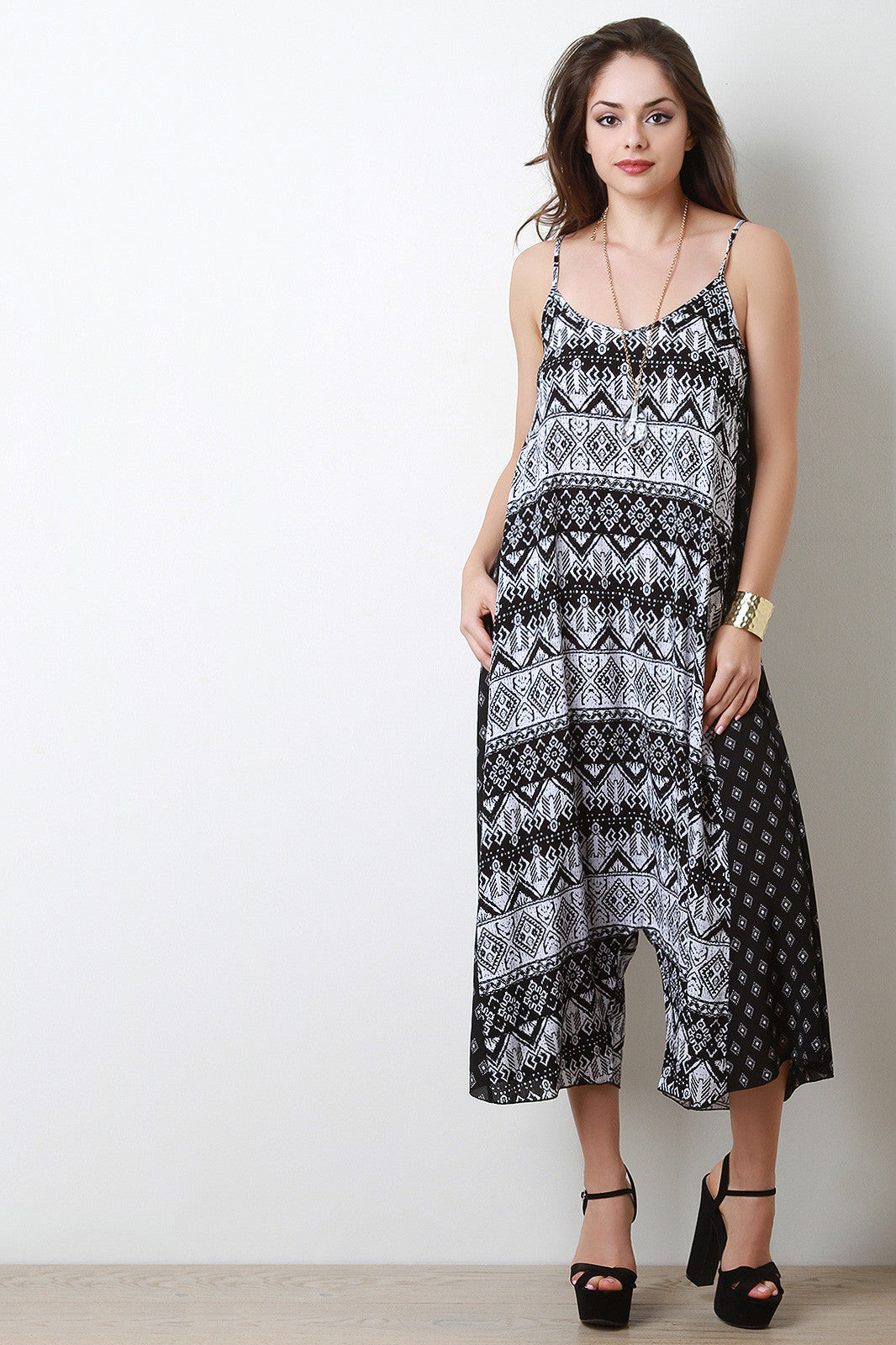 Flowy Mixed Print Drop Crotch Jumpsuit - Thick 'N' Curvy Shop - 1