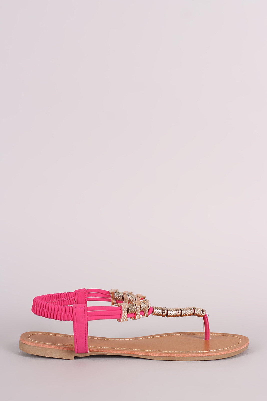 Metallic Ornament Embellished T-Strap Flat Sandal - Thick 'N' Curvy Shop - 1