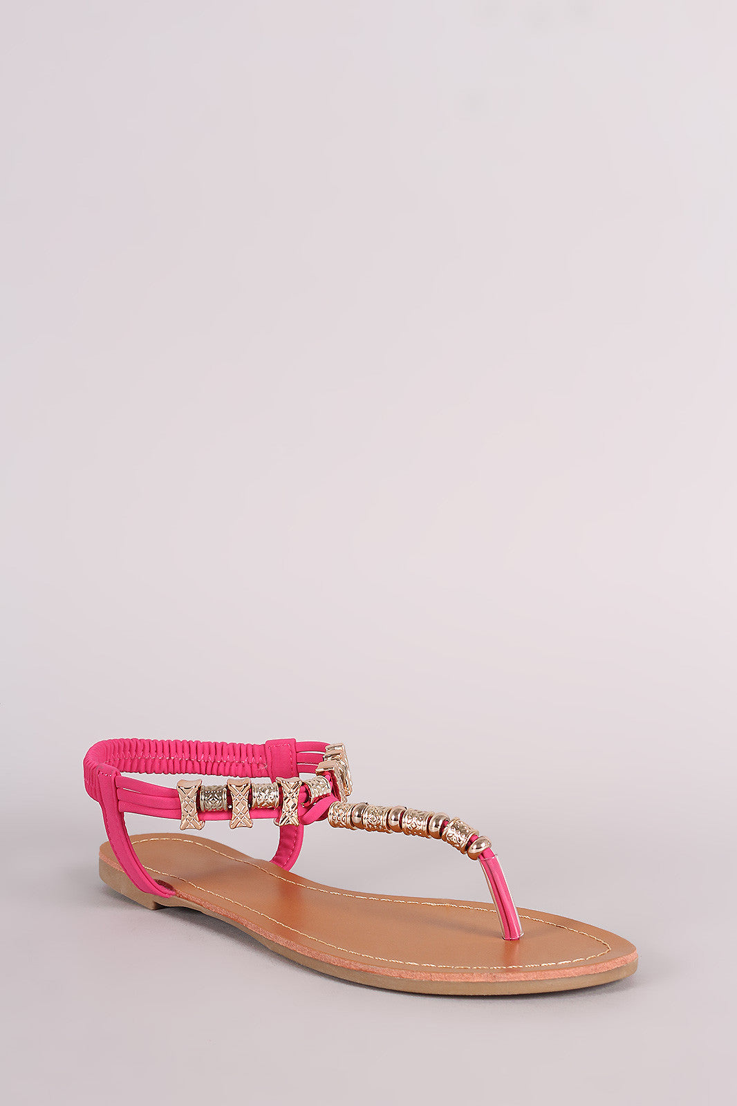 Metallic Ornament Embellished T-Strap Flat Sandal - Thick 'N' Curvy Shop - 2