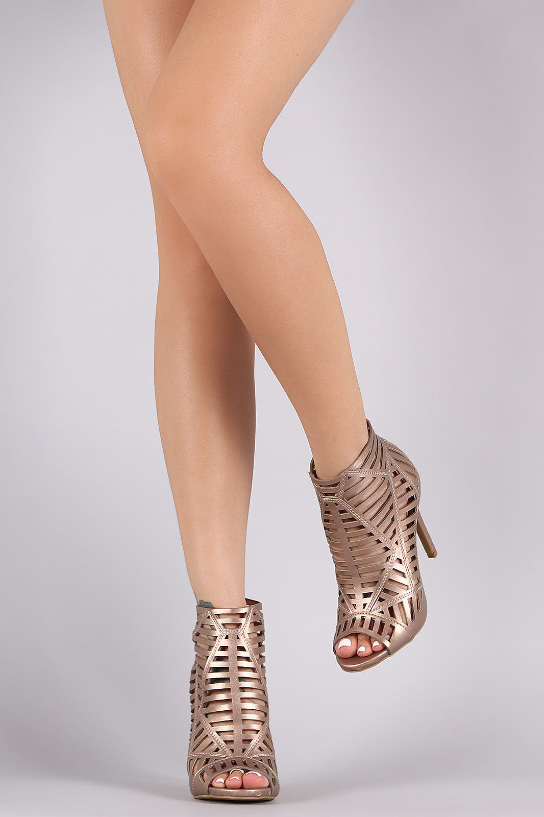 Anne Michelle Caged Peep Toe Stiletto Heel - Thick 'N' Curvy Shop - 6