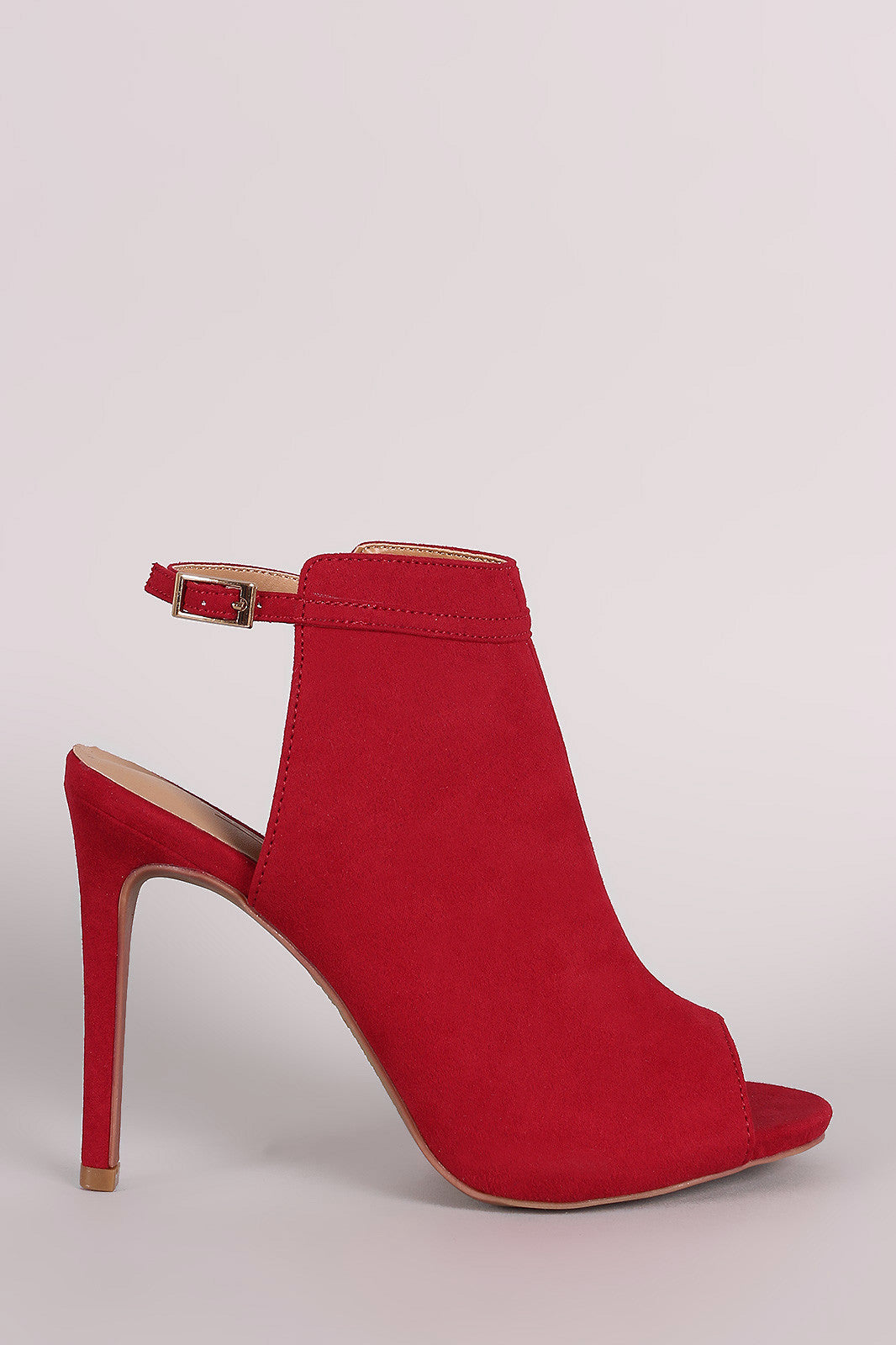 Anne Michelle Suede Peep Toe Mule Booties - Thick 'N' Curvy Shop - 1